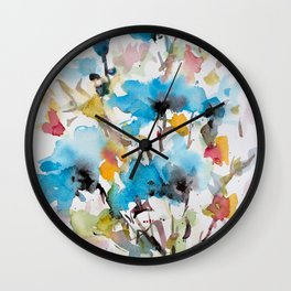 Abstract flowers in blue Wall Clock