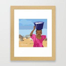 African Village Girl Framed Art Print