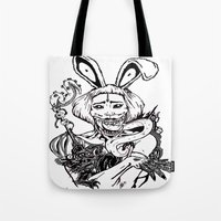 cthulu Tote Bags featuring ALICE HARAJUKU TWISTED  by Thodoris Mpoutos / Boutos