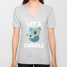 Let's Cuddle Koala Bears Love Heart  Unisex V-Neck