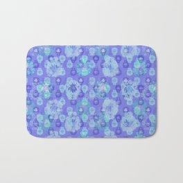 Lotus flower - pool blue woodblock print style pattern Bath Mat