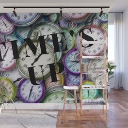 Time's Up Motif with Script by Jeanpaul Ferro Wall Mural