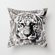 Tiger BW Throw Pillow