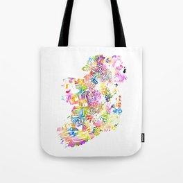 Typographic Ireland - Multi Watercolor rainbow map Tote Bag