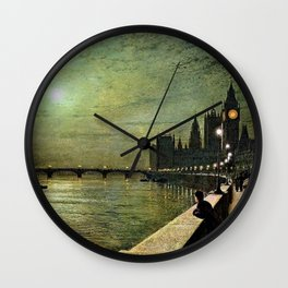 Reflections on the Thames River, London by John Atkinson Grimshaw Wall Clock