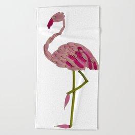 flowery flamingo Beach Towel