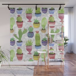 Watercolor Succulent Pattern Wall Mural