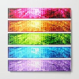 Rainbow Nebula Pixels Panel Art Metal Print