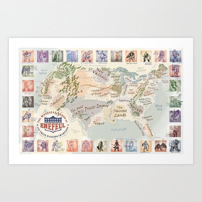 Fantasy Football Map Art Print