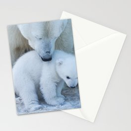 Polar Bear Mother and Cub portrait. Stationery Cards