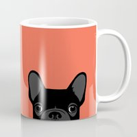 french bulldog Mugs featuring French Bulldog by Anne Was Here