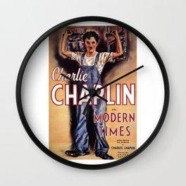 Vintage Movie Posters, Modern Times, Charlie Chaplin Wall Clock