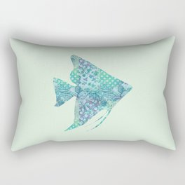 Angelfish Tropical Fish Vintage Floral Pattern Shabby Chic Aqua Mint Turquoise Teal Rectangular Pillow