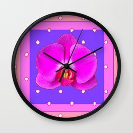 Fuchsia Pink & Purple  Moth Orchid Coral Art Wall Clock