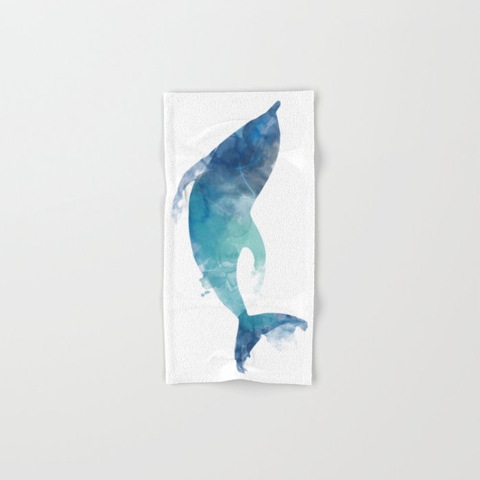 Watercolor playing Dolphin Hand & Bath Towel