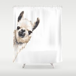 Sneaky Llama White Shower Curtain