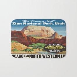 Vintage poster - Zion National Park Bath Mat