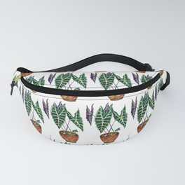Potted Plant in green and purple Fanny Pack