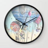 hot air balloon Wall Clocks featuring Hot air balloon party by Dreamy Me