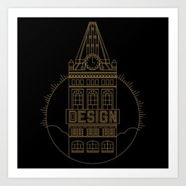 Oakland is Design (Black & Gold) Art Print