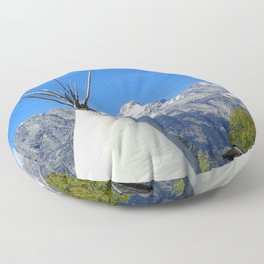 Tipi with snow capped mountains Floor Pillow