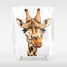 Giraffe painting. White Background Shower Curtain