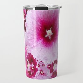 DECORATIVE FUCHSIA-PINK HOLLYHOCK  PATTERNS GARDEN ART Travel Mug
