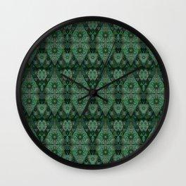 Deep Emerald Green Chromatic Gothic Lace Print Wall Clock