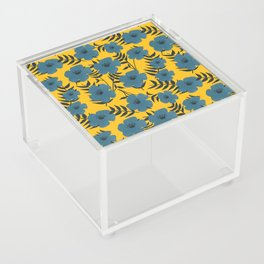 Blue Flowers with Banana Leaves with Yellow Acrylic Box