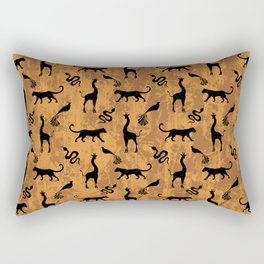 Animal kingdom. Black silhouettes of wild animals. African giraffes, leopards, cheetahs. snakes, exotic tropical birds. Tribal primitive ethnic nature chocolate brown grunge distressed pattern. Rectangular Pillow