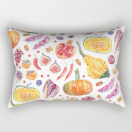 Autumn Harvest Pattern White Rectangular Pillow