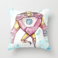 iron maiden Throw Pillows featuring Iron by Crooked Octopus