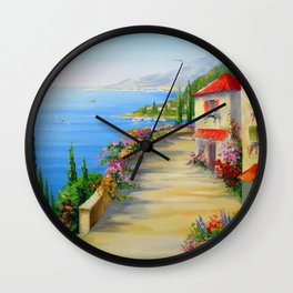 The town by the sea Wall Clock
