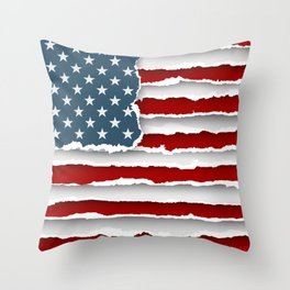 design flag united states of america from torn papers with shadows Throw Pillow