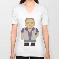 big lebowski V-neck T-shirts featuring Walt - Big Lebowski by Moose Art