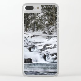 Winter Waterfall - Glacier National Park Clear iPhone Case