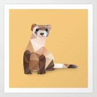 ferret Art Prints featuring Ferret. by Diana D'Achille