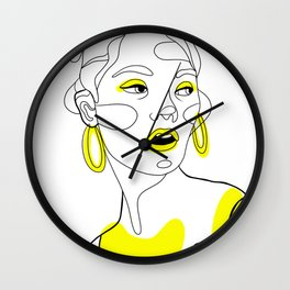 Fashion line art girl Wall Clock