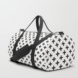 Criss Cross | Plus Sign | Black and White Duffle Bag