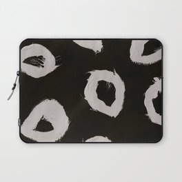 Round, Abstract, White & Black Laptop Sleeve