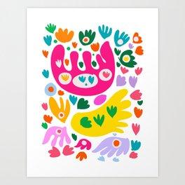 Joyful Summer Pastel Heart and Butterflies Abstract Illustration Art Print