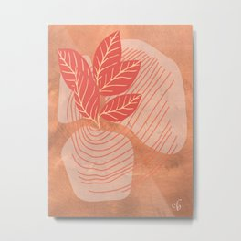 Tiger Plant and Vase, Minimalist, Abstract Art  Metal Print