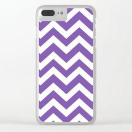 Royal purple - violet color - Zigzag Chevron Pattern Clear iPhone Case