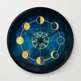 Gold Moon Phases Sun Stars Night Sky Navy Blue Wall Clock