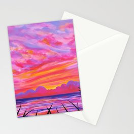sea oats at sundown Stationery Cards