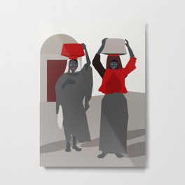 Women return from the market  Metal Print
