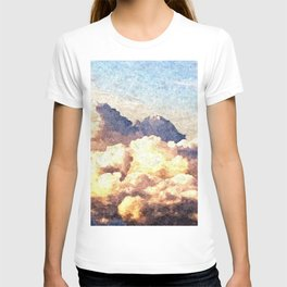 Fluffy Clouds Aerial Skyscape Painting T-shirt