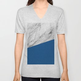 Marble and Lapis Blue Color Unisex V-Neck