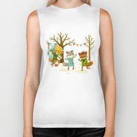 spring Biker Tanks featuring Critters: Spring Dancing by Teagan White