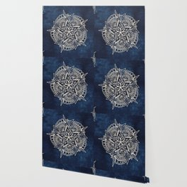 Cream and navy mandala on indigo ink Wallpaper